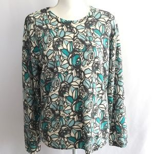 Kim Rogers Floral Long Sleeve Blouse Top